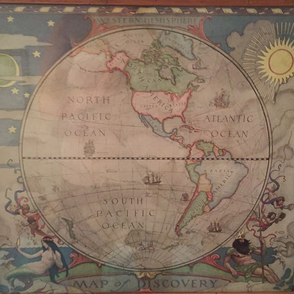 One of my favorite maps. Mostly because of the art work. The set hangs in our guest bedroom which happens to be map themed.